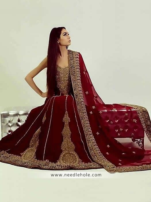 acdb49a510 Beautiful anarkali bridal sharara suit in burgundy color, sweet ...