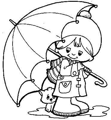 Kids Colorings Pages on Cat Under Umbrella Kids Coloring Pages Red