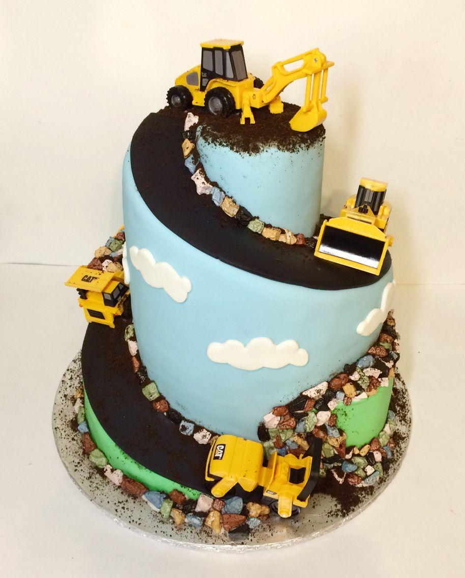 Construction Zone Birthday Cake Carved Spiral Cake With Mini Tonka