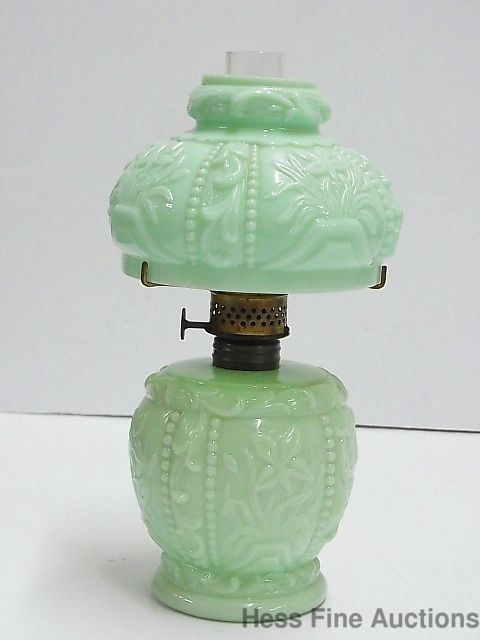 Vintage Fancy Green Milk Glass Jadeite Boudoir Vanity Hurricane Oil Table  Lamp