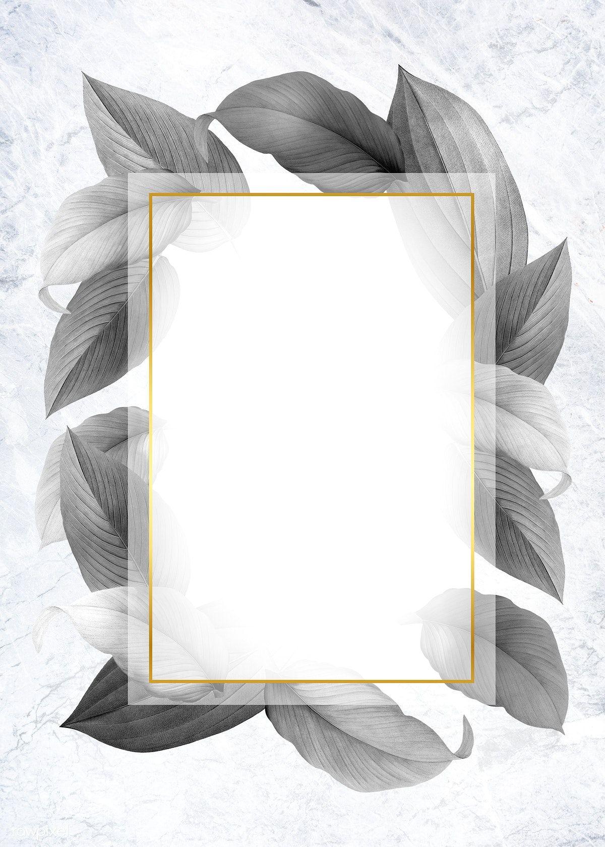 Download Premium Illustration Of Golden Frame On A Gray Leafy Background Framed Wallpaper Flower Background Wallpaper Wallpaper