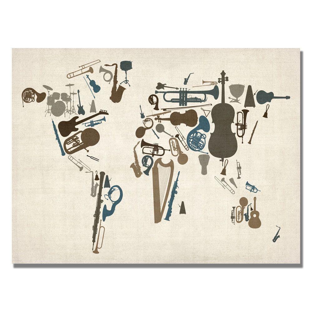 30 in. x 47 in. Instument World Map Canvas Art