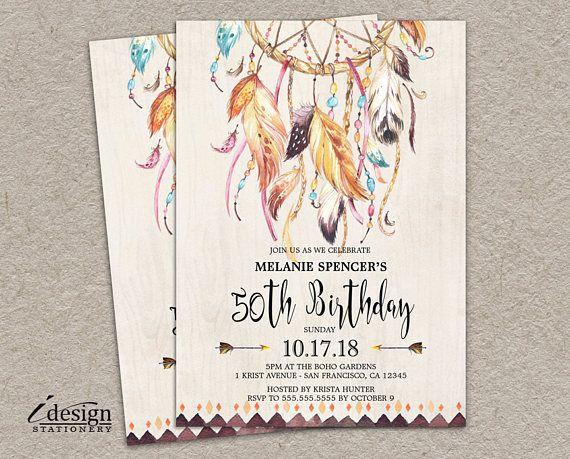 Boho birthday invitations l 50th birthday invitation for women l diy boho birthday invitations l 50th birthday invitation for women l diy printable tribal dream catcher 30th filmwisefo