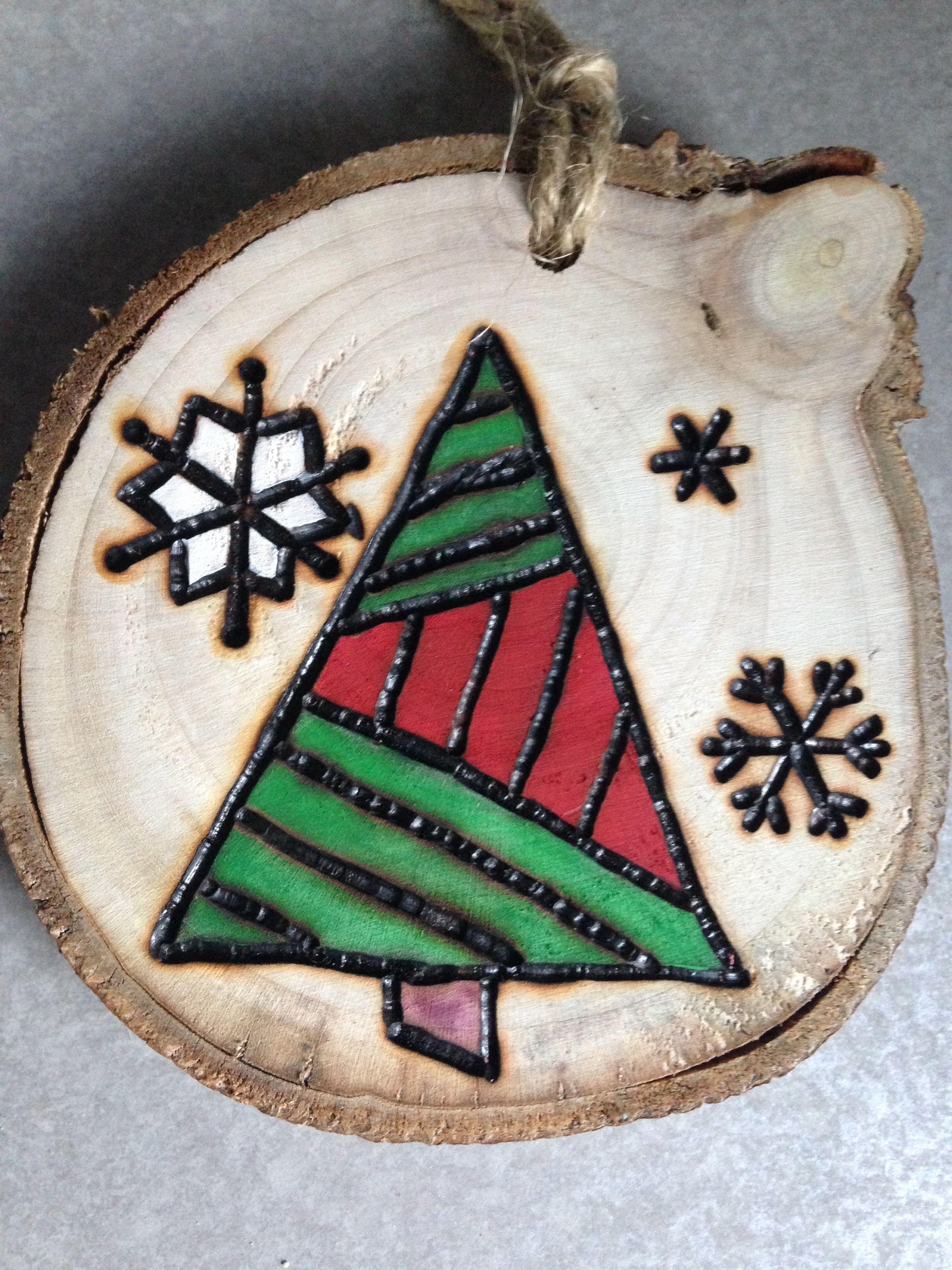 Rustic Tree Hand Painted Wood Burned Christmas Ornament