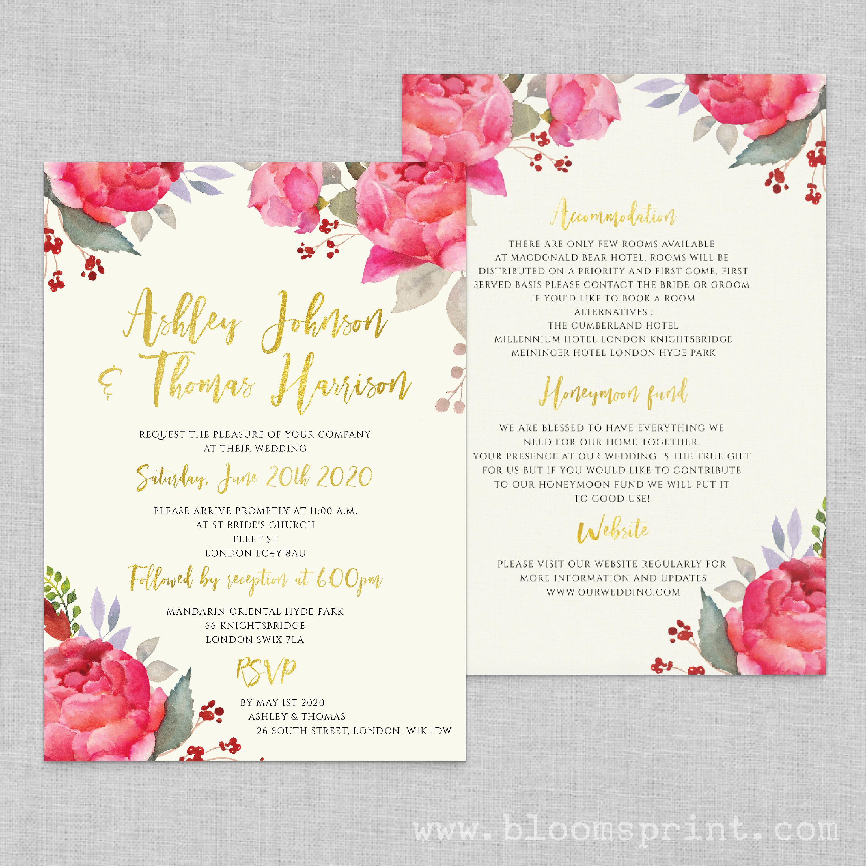 Floral boho wedding invitation template, Wedding invites floral ...