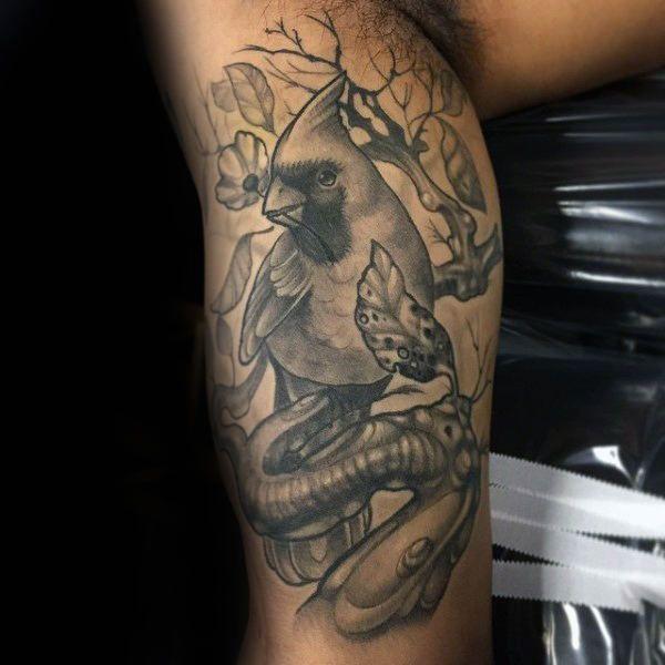6bf3638b37f45 Cool Cardinal Bird On Tree Branch Grey Shaded Ink Mens Arm Tattoos
