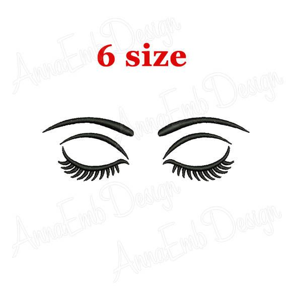 Eyes With Lashes Embroidery Design. Eyes Embroidery Design