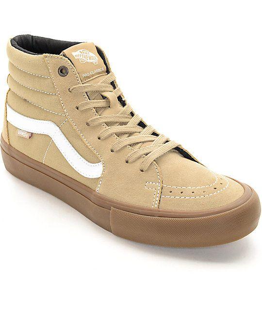 Vans Sk8-Hi Pro Khaki \u0026 Gum Skate Shoes