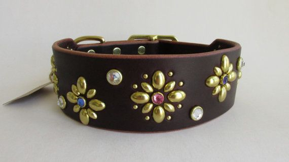 English Blossom  a handmade leather Dog Collar by KodiakCollars