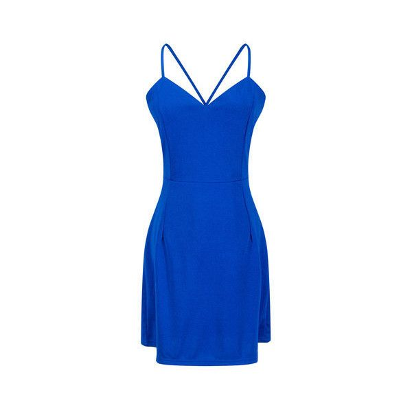 Sexy Women Spaghetti Strap Backless Pure Color V-neck Mini Dresses ($16) ❤ liked on Polyvore featuring dresses, blue, beach cocktail dresses, blue cocktail dresses, sexy evening dresses, mini cocktail dress and short sleeve cocktail dresses