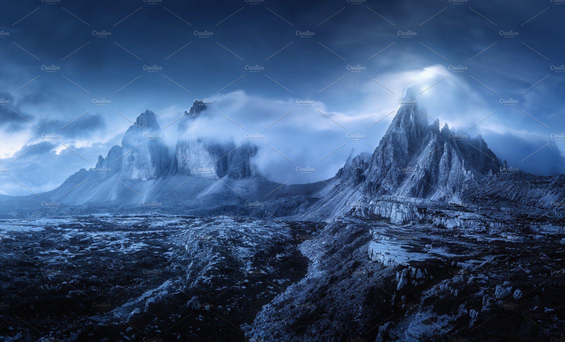 Mountains In Fog At Beautiful Night Dreamy Landscapes Landscape Italian Landscape