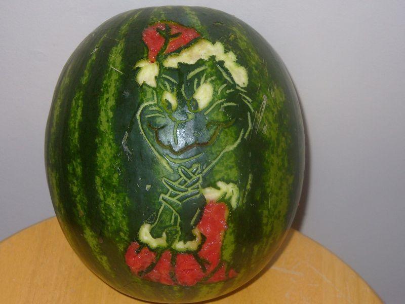 Grinch carving watermelon pumpkin like dr seuss