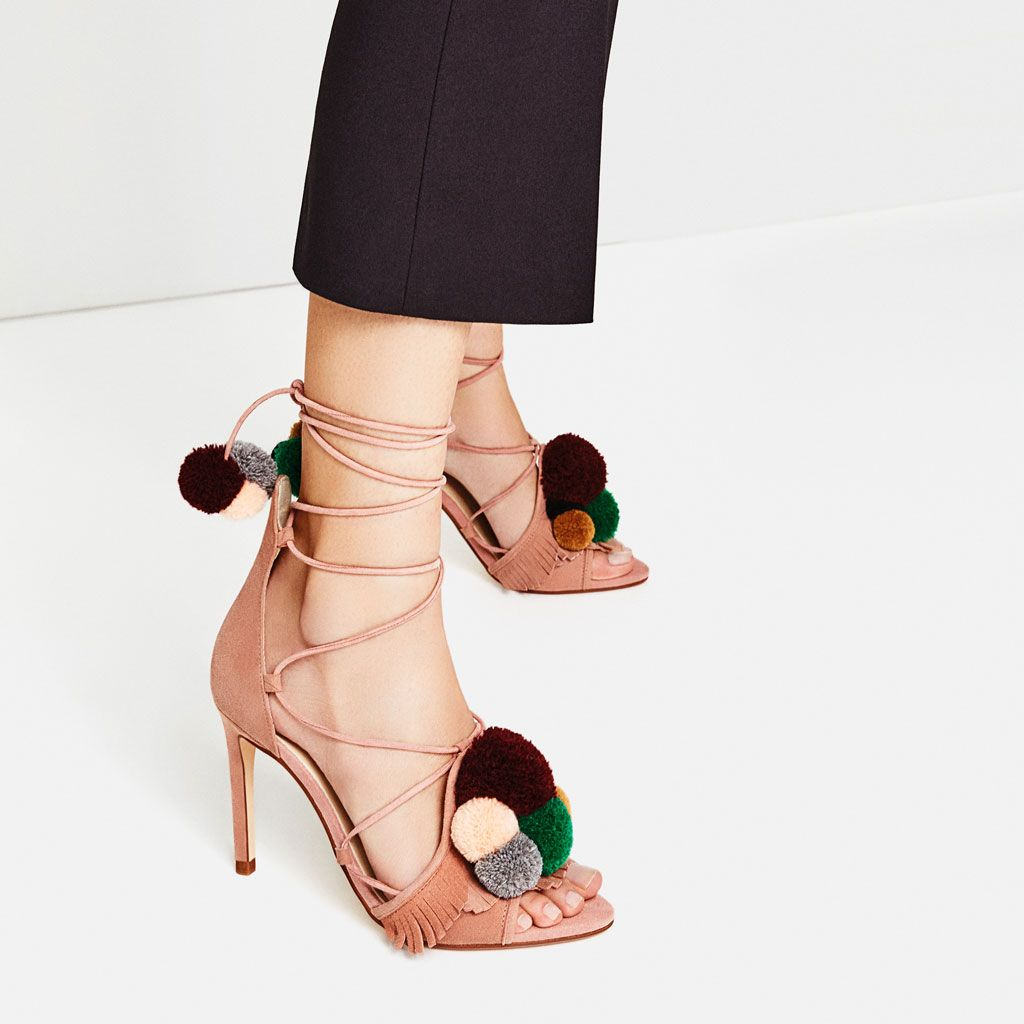 FemmeZara Chaussures Talons Et À Sandales En Cuir Pompons Yb76gyf