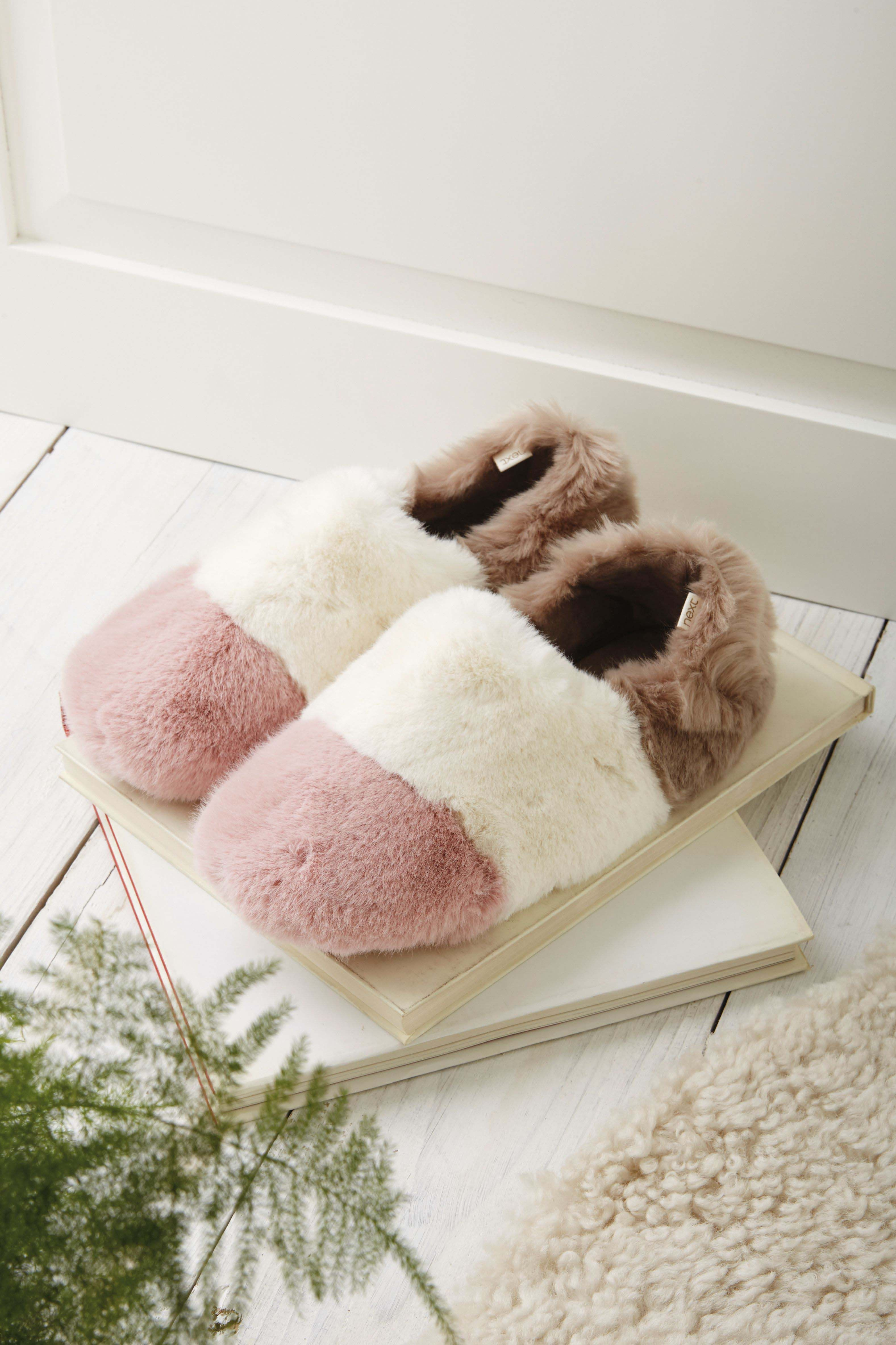 Womens Next Multi Faux Fur Stripe Slippers - Pink  877a1bb0c