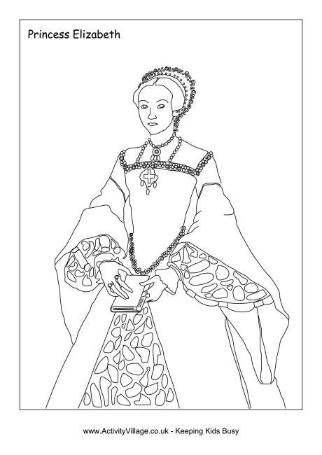 Elizabeth I Colouring Page With Images Coloring Pages