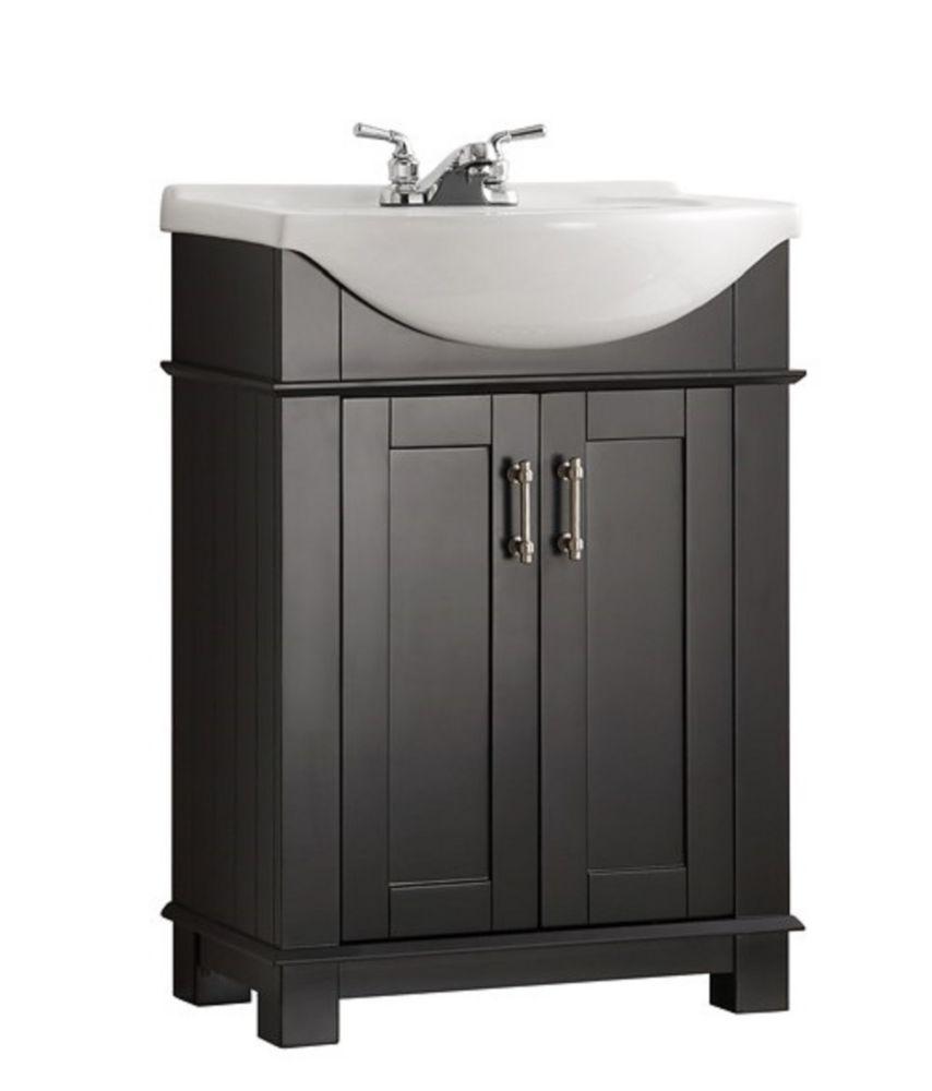 Hudson 24 Inch W Traditional Bathroom Vanity In Black With Ceramic Vanity Top In White With Basin Products Traditional Bathroom Single Bathroom Vanity Vanity
