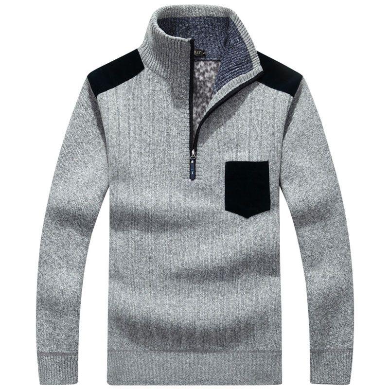 Mens Sweater Fleece Wool Polo Zipper Knitted Merry Christmas ...