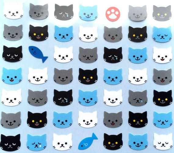 Cat Stickers - Nyanko - Neko Stickers - Kawaii Cat Stickers  - Black Cats - Fish Stickers - Japanese Stickers - Animal Stickers -  (S67)