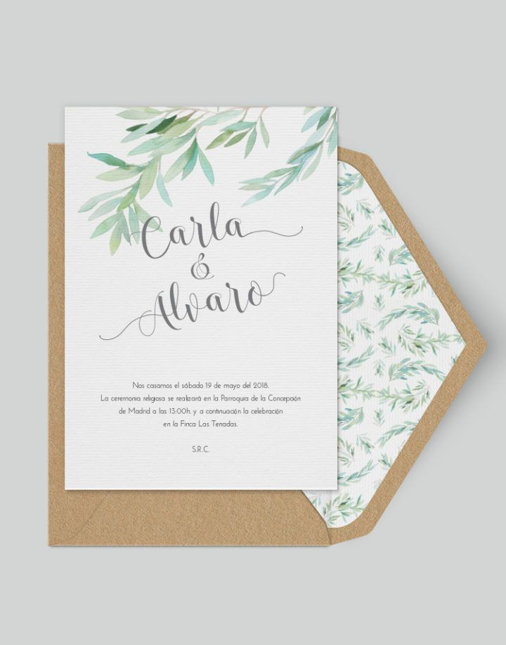 Olive in love - Greenery Wedding invitation