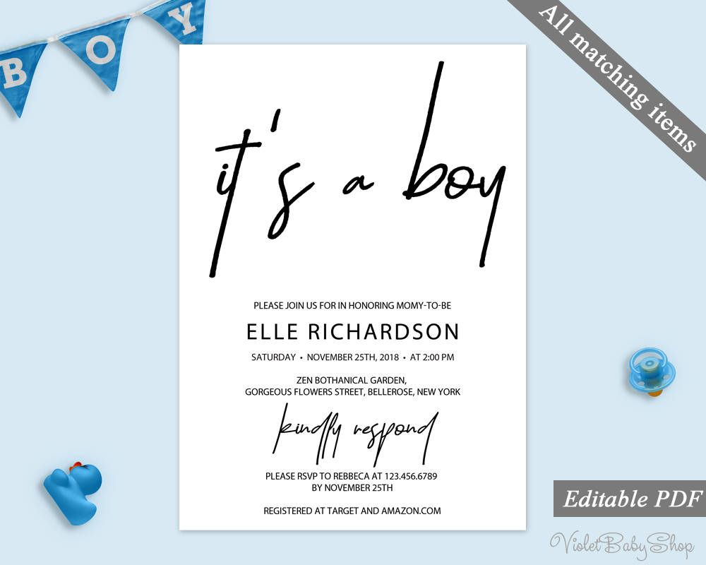Modern It\'s a Boy Invitation Template. Printable Baby Shower ...