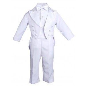 93edbd0cd Baby Boys White 5 Pcs Shirt Jacket Pants Bow Tie Cummerbund Tuxedo Set 0-24M