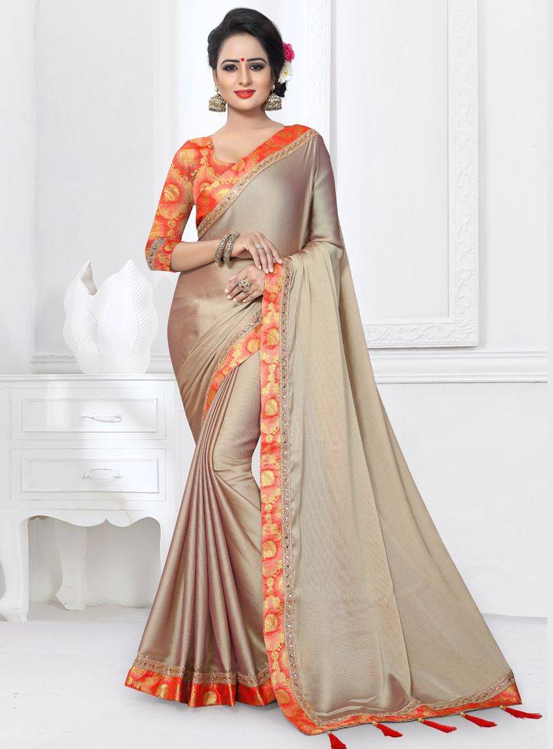 058369a18e Buy Beige Silk Saree With Blouse 122884 with blouse online at lowest price  from vast collection of sarees at m.indianclothstore.c.