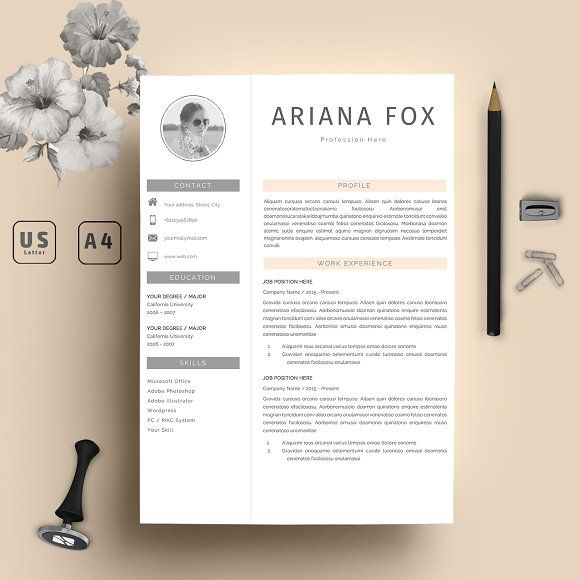 Ariana Resume Template 2 Pages @creativework247 Resume Templates - resume template for pages