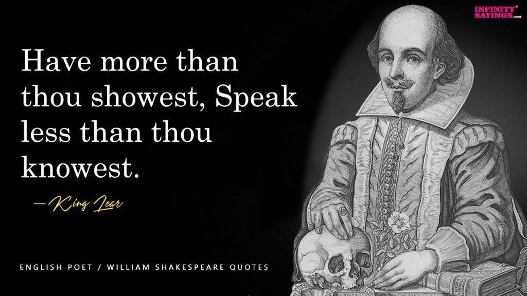 Have More Than Thou Showest Speak Less Than Thou Knowest William Shakespeare Inspirational Quotes Inspirational Quotes Inspirational Quotes About Success