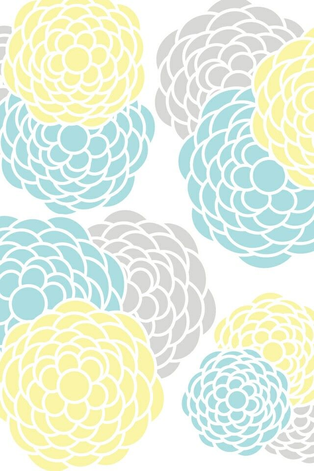 Mint Gray And Yellow Flowers Wallpaper Photo Booth Background