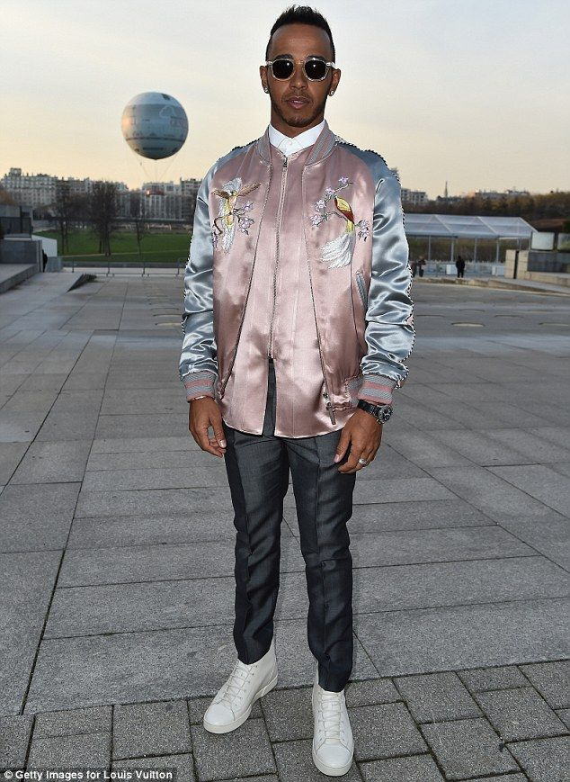 c69f5b310e5 Racing into the style stakes  Lewis Hamilton continued his quest to be  recognised as a force in the fashion world when he arrived at the Louis  Vuitton ...