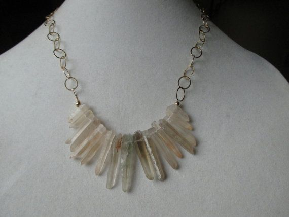 Gold Agate Crystal Bib Necklace by SpecialADesigns on Etsy
