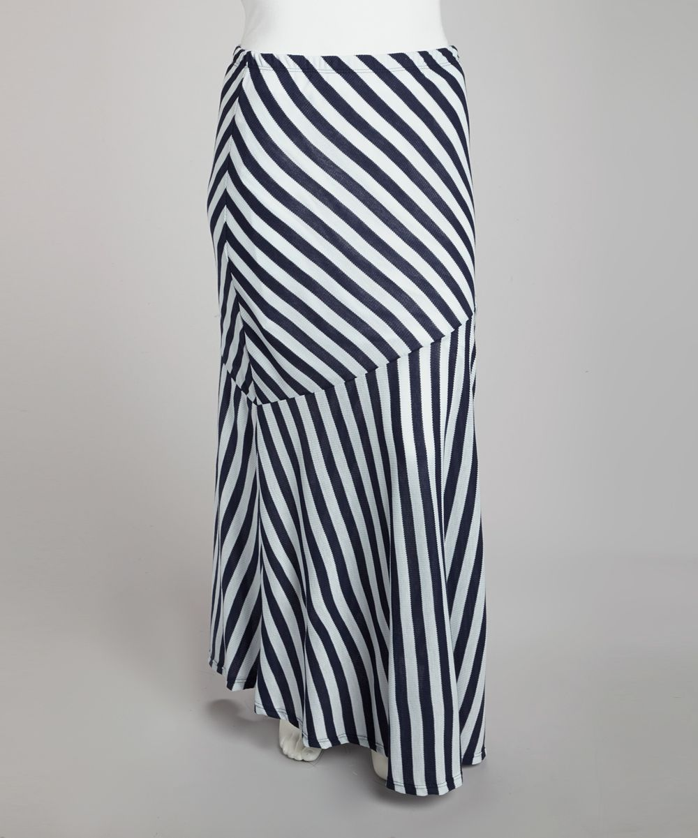 f8e5b7fe247 Navy Blue   White Stripe Maxi Skirt - Plus