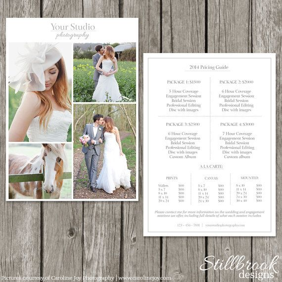 Photography Price List Template - Wedding Price Sheet - Photographer - Price Sheet Template
