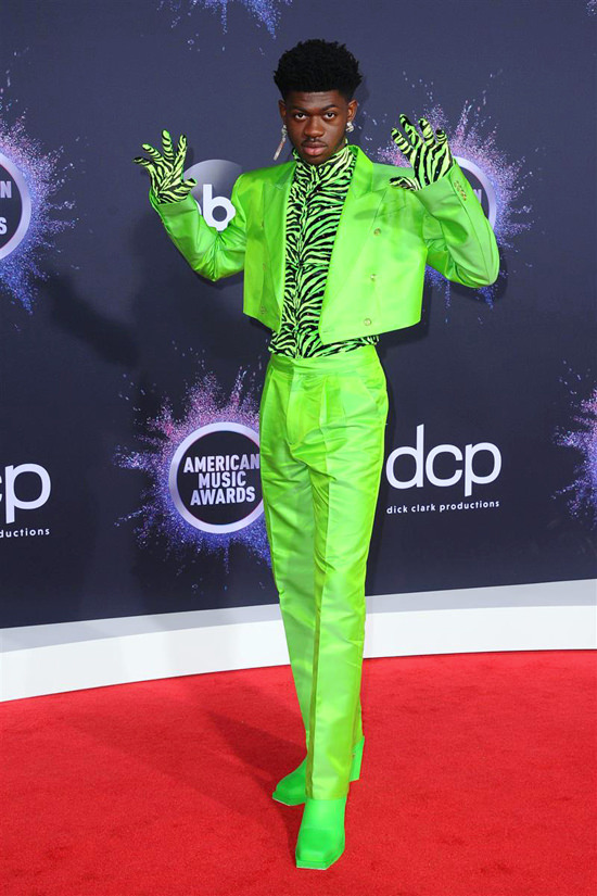 , Lil Nas X – Custom Christopher John Rogers Slime Green Silk Wool Fully-tailored Suit with Metallic Flocked Stretch Velvet Tee and Opera Evening Glov…, My Pop Star Kda Blog, My Pop Star Kda Blog