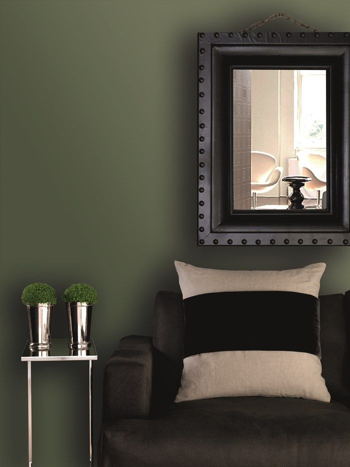 lovely dark green living room wall | Mya Dark Green Paint by Kelly Hoppen Paint by Graham and ...