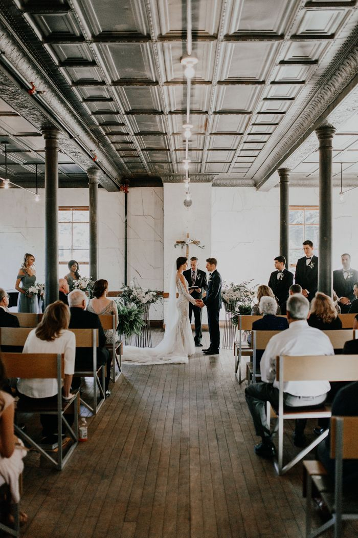 3334c3d65e701 This wedding at The Headlands Center for the Arts features a fab Pronovias  bridal gown and
