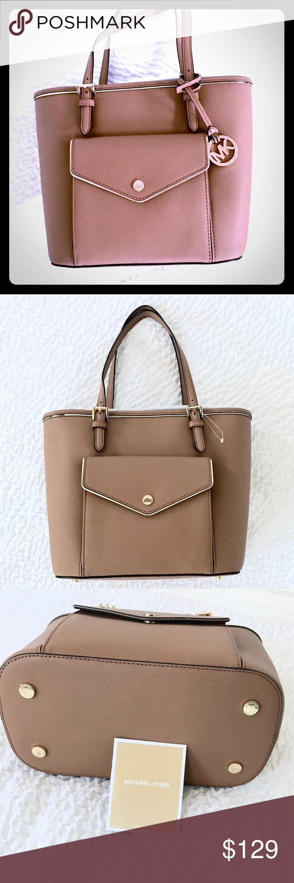 c0a2137bb124 New Authentic MK saffiano frame medium tote acorn Michael Kors' Saffiano  Frame tote keeps jet