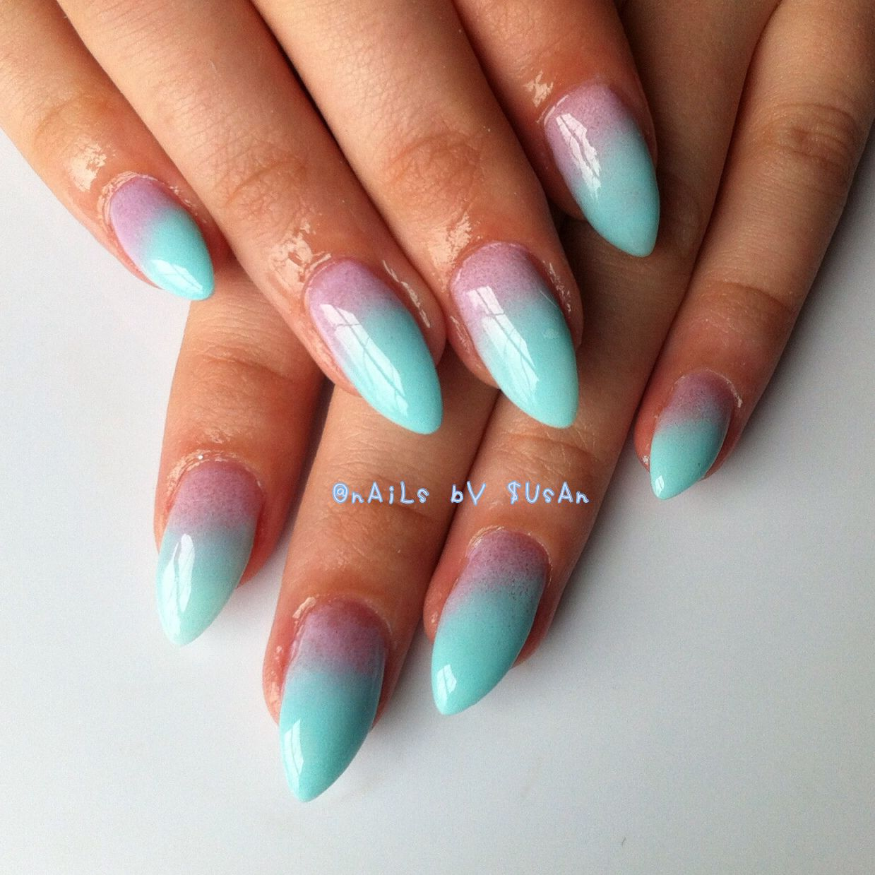 Pink turquoise ombre gel nails. Switch out pink for yellow | beauty ...