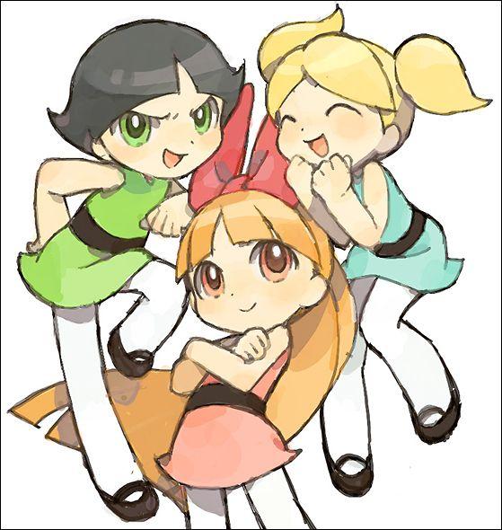 Powerpuff anime Power Puff THREE GIRLS Pin