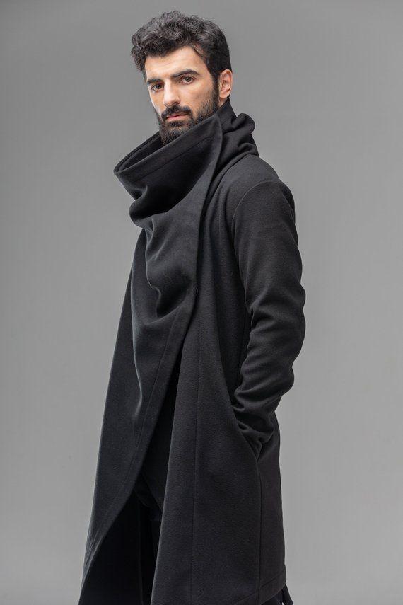 Long coat for men oversized cardigan, dystopian bl