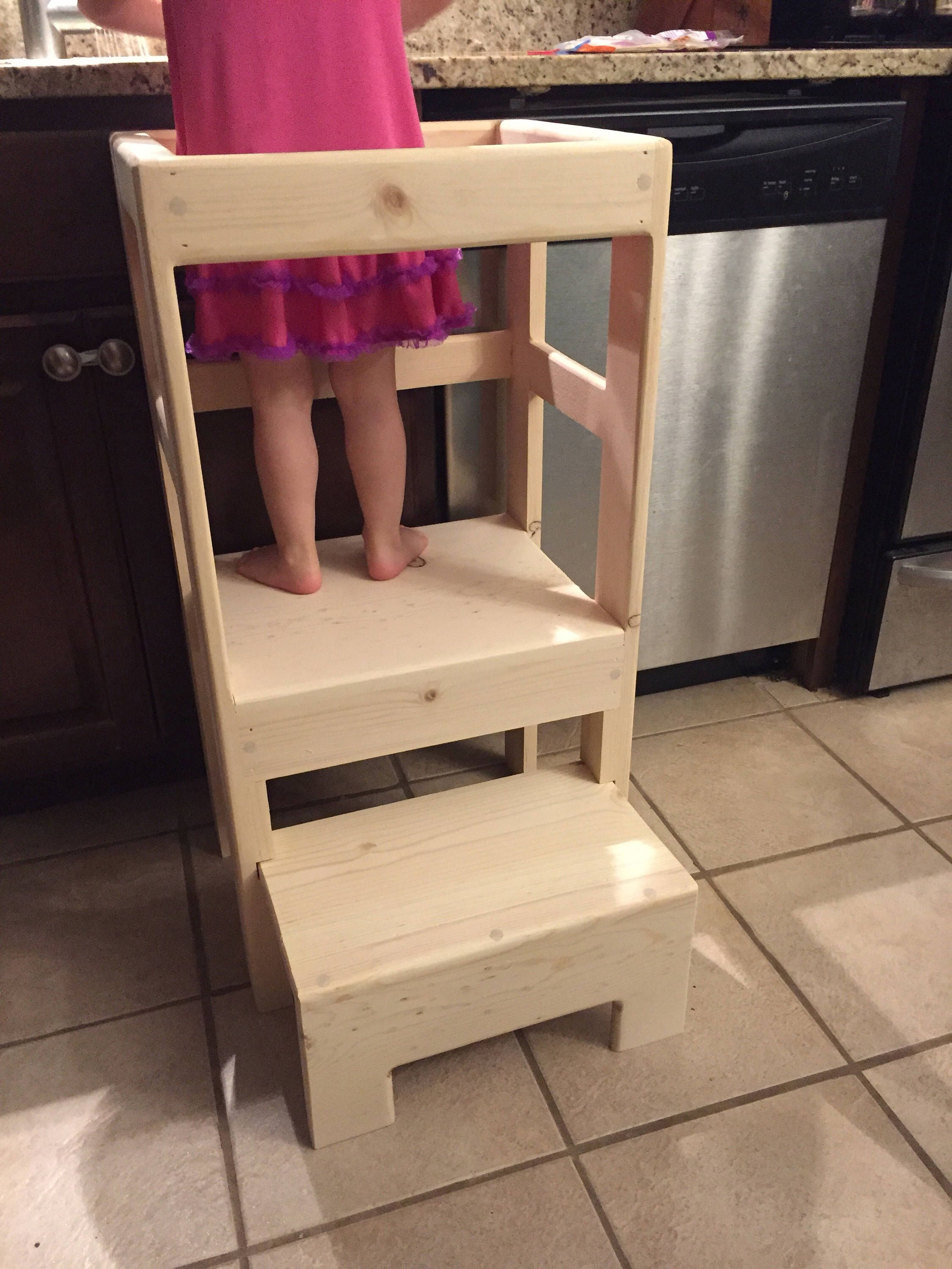Natural Pine Children's Kitchen Play Helper Step Stool