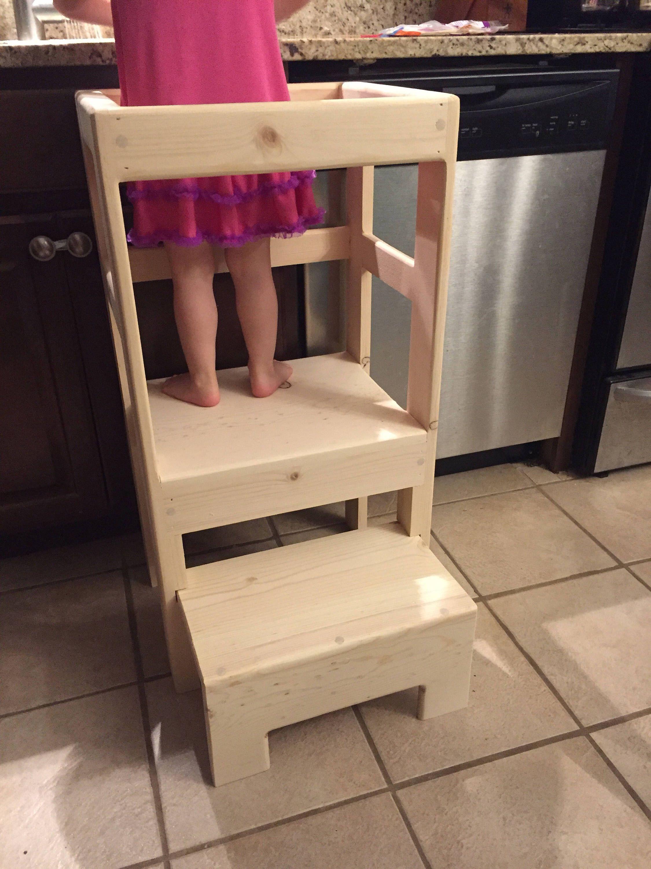 Natural Pine Children' Kitchen Play Safety Helper Step