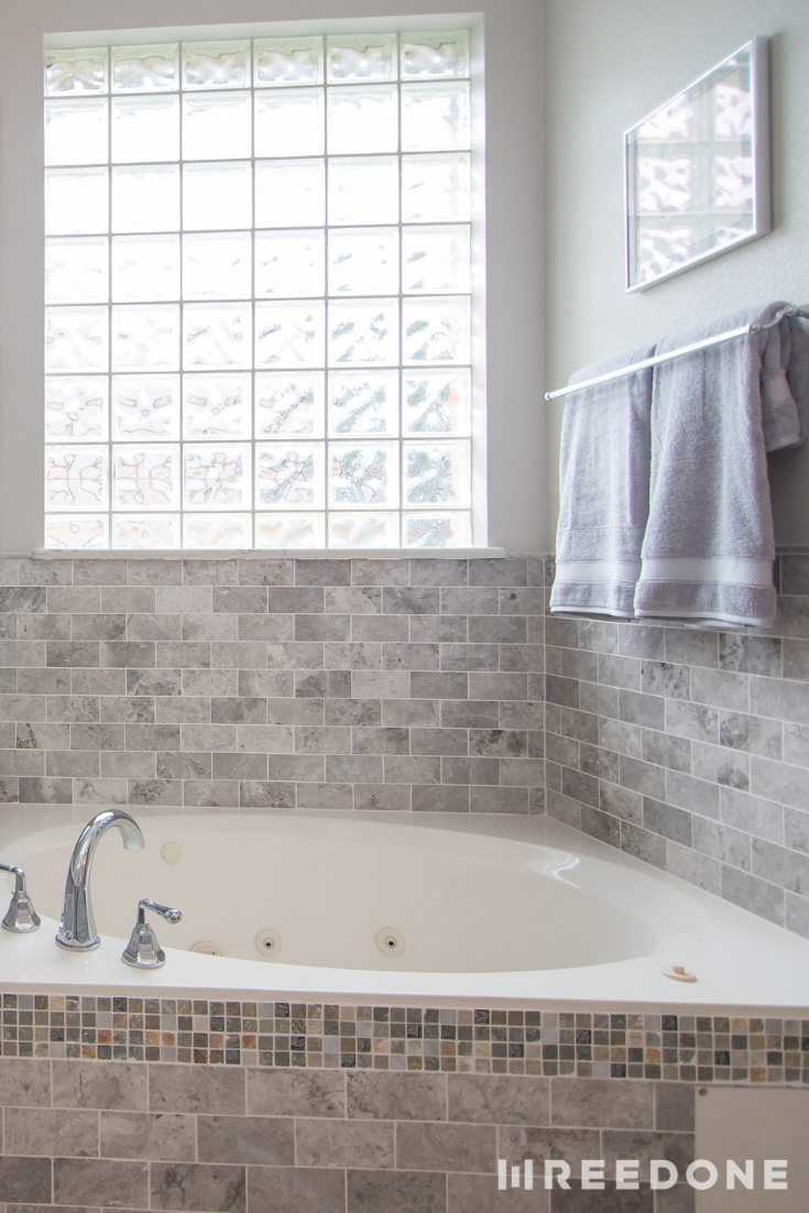- Smaller Subway Tiles Used In Both The Shower And On The Garden Tub