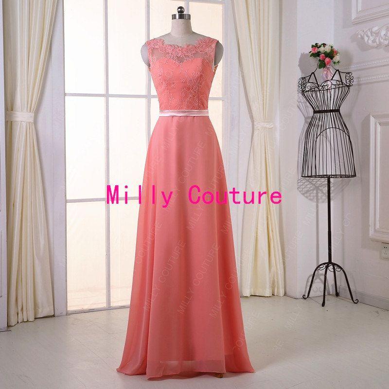 Vestido de noche de baile coral de encaje vestido por MillyCouture ...