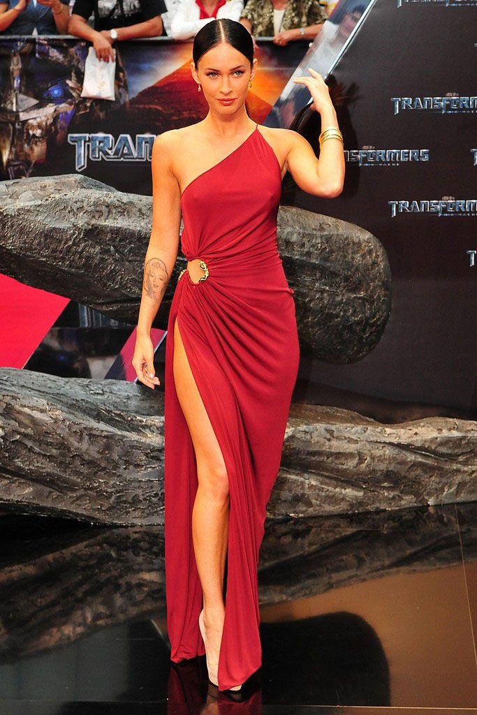 Megan Fox Red Carpet Dress One Shoulder Burgundy Sheath ...
