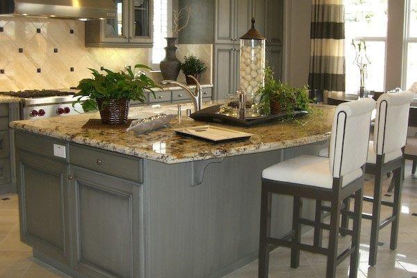 Blue cabinet/ beige counter   Grey kitchen island, Brown ...