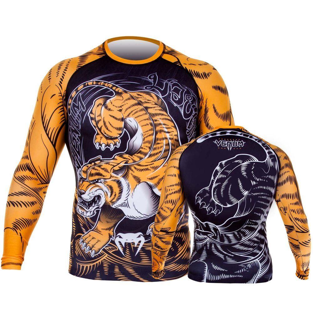 Venum Tiger Long Sleeve Rash Guard - Black-Orange