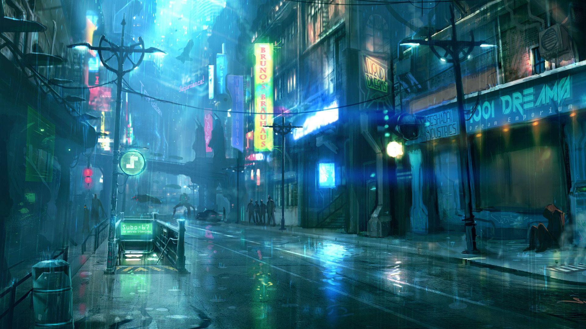 Dark Cyberpunk Street Cool Wallpapers Ville Cyberpunk Paysage Manga Art Cyberpunk