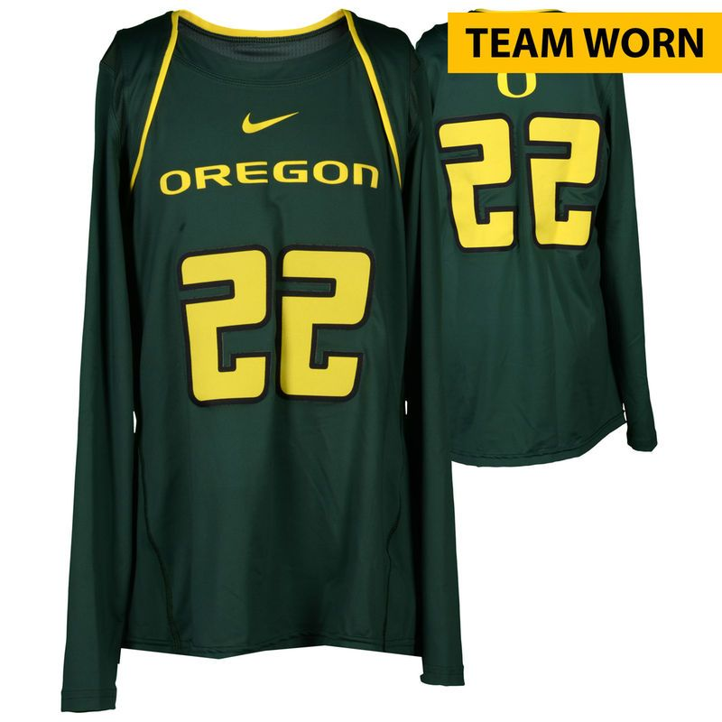 50d25149e Oregon Ducks Fanatics Authentic Women s Lacrosse Team-Worn  22 Green and  Yellow Long Sleeve