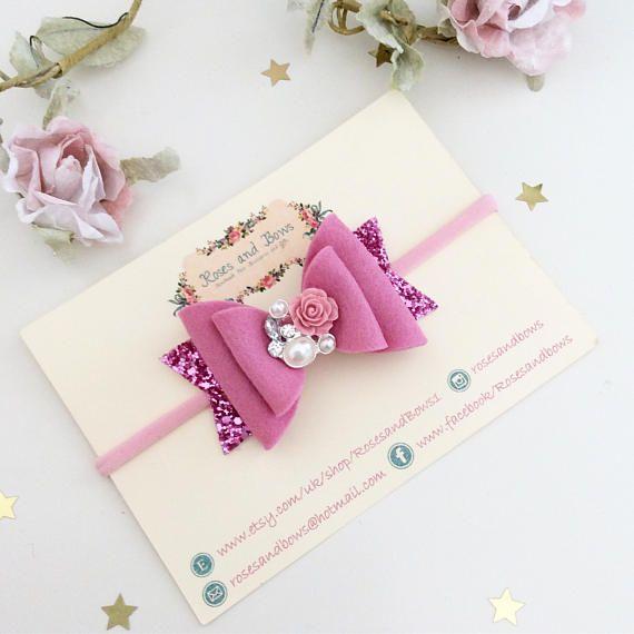 Baby Bows Girls Hair Accessories Baby Headband Small Bow -Hairclip Christening Headband Lilac Baby Small 2.5 Felt Flower Hair Bow
